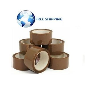 6 Rolls Brown Tape Buff Tape Cheap Medium Quality Box Sealing TapeS