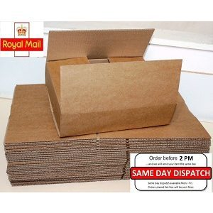 25 Boxes 12x12x2.6″ Single wall Royal Mail Parcel Size Posting Shipping Packing