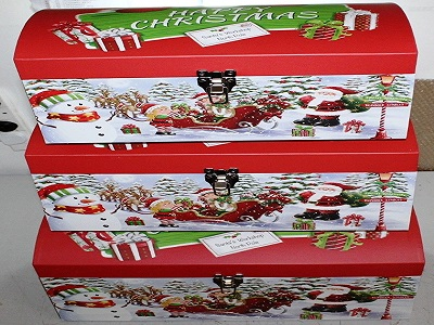 Pack of 3 Gift Boxes Xmas Happy Christmas Gift Box Dome Lid Santa's Workshop